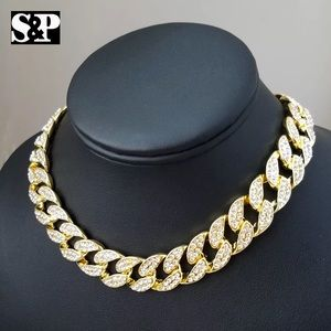 "Other - Migos Unisex gold and white 16""diamond  choker"